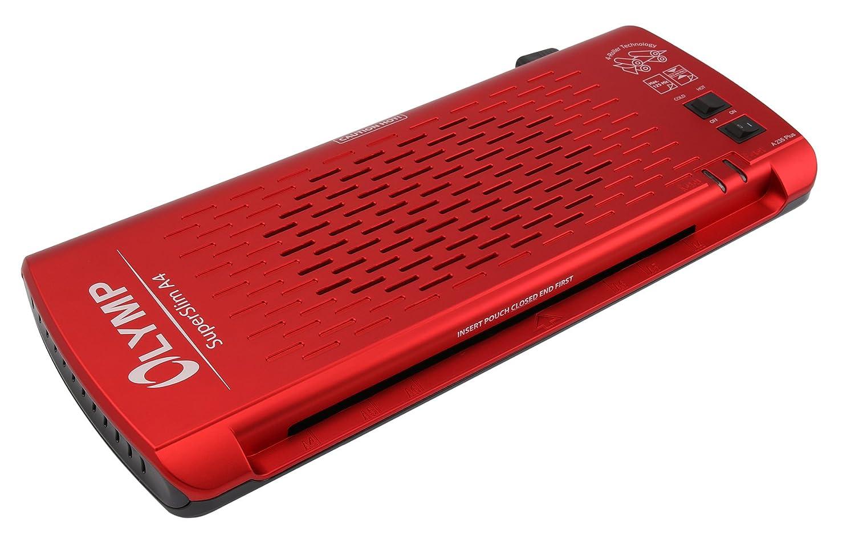 OLYMP A 235 Plus - Plastificatrice a 4 rulli, formato A4, extra piatta, rosso metallizzato 3102