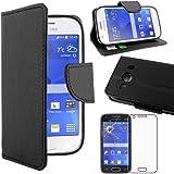 ebestStar - pour Samsung Galaxy Ace 4 SM-G357FZ - Housse Coque Etui Portefeuille Support PU Cuir + Film protection écran en VERRE Trempé, Couleur Noir [Dimensions PRECISES de votre appareil : 121.4 x 62.9 x 10.8 mm, écran 4'']