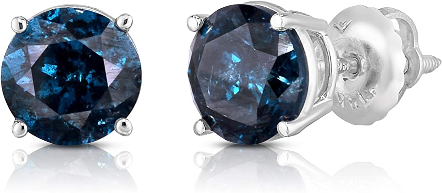 Girls Jewelry Simulated Diamond /& Blue Sapphire Studded 14K White Gold Plated Screwback Stud Earrings For Women