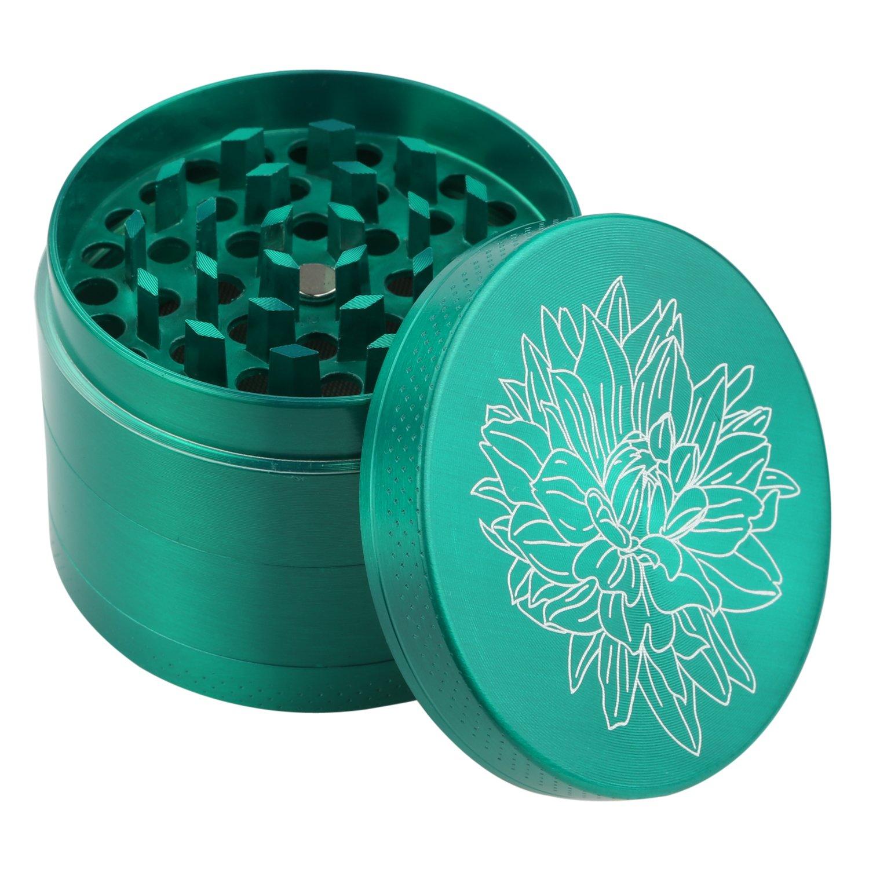DCOU New Design Premium Zinc Alloy Herb Tobacco Grinder 2.2 Inches 4 Piece Metal Grinder with Pollen Catcher with Laser Flower Pattern Green