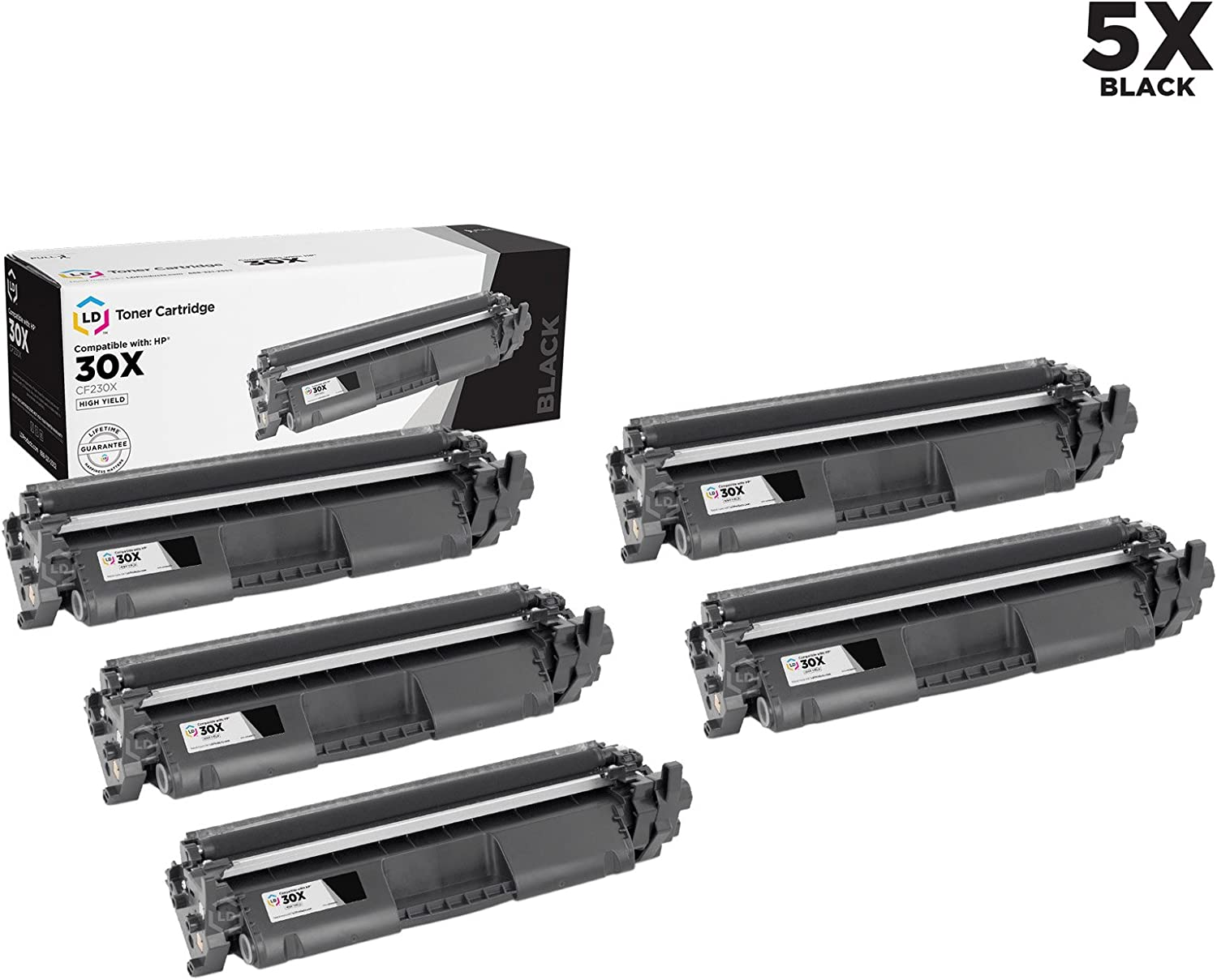 LD Compatible Toner Cartridge Replacement for HP 30X CF230X High Yield (Black, 5-Pack)