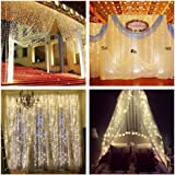 ZSTBT Linkable 304LED 9.84ft9.84ft/3m3m Window Curtain Lights Icicle Fairy Lights for Party Wedding Home Patio Lawn Garden (Warm White)