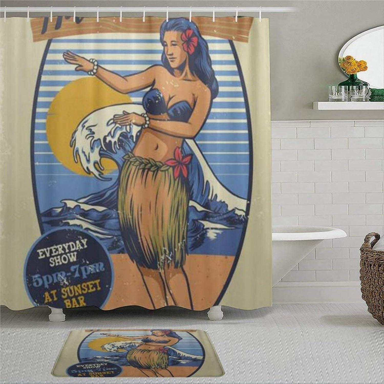 Vintage Hawaiian Girl Hula Dance Shower Curtain with Rings Polyester Fabric Shower Curtains with Hooks Bath Bathroom Decor