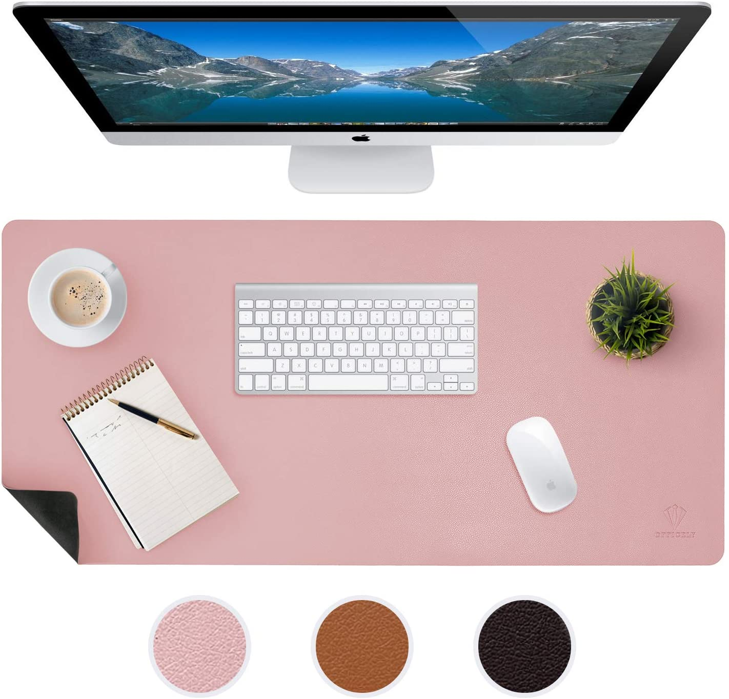 Large Leather Desk Mats for Keyboard and Mouse Pad, Anti-Skid Backing with Heat Resistant and Waterproof Surface, Responsive Desktop for Gaming, Writing, or Home Office Work (Pink, 24X48)