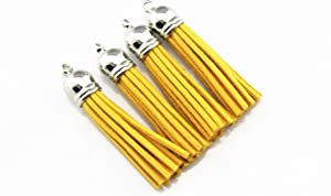 30 Silver Cap 2-1/4 Inch Faux Suede Tassel Charm with CCB Cap for Keychain Cellphone Straps Jewelry Charms ZHLAS1022 (Gold)