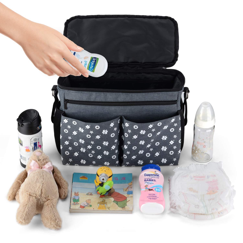 Large Baby Stroller Organizer Diaper Bag with Extra Storage, Easy Installation, Bottle Holders, Shoulder Strap for Stroller Like Uppababy, Baby Jogger, Britax, Bugaboo, BOB, Umbrella & Pet Stroller by Jenleestar (Image #6)