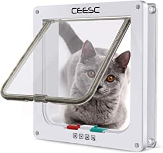 "CEESC Cat Flap Door Magnetic Pet Door with 4 Way Lock for Cats, Kitties and Kittens, 3 Sizes and 2 Colors Options (M- Inner Size: 2.17""(D) x 6.18""(W) x 6.30""(H), White)"