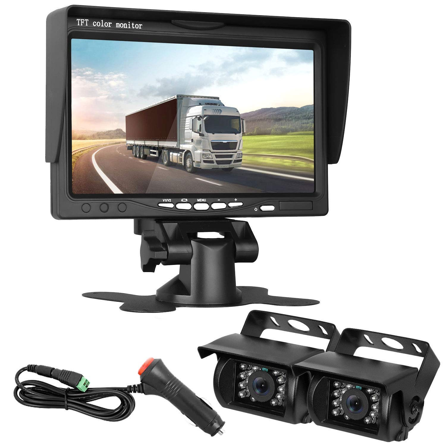 HD 720P Dual Backup Cameras and 7'' Monitor System Kit for Bus/Trucks/Trailer/RVs/Campers Night Vision IP68 Waterpoof with ON/Off Switch Guide Lines Normal/Mirrored Pictures Optional