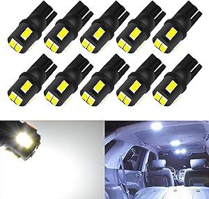 KATUR 10pcs T10 LED Bulb Super Bright 450 Lumens 168 194 2825 175 921 912 LED Light 5630 6SMD Interior Map Lights Trunk Cargo Lights Courtesy Corner Side Marker LEd Lights 2W 12V 6000K White