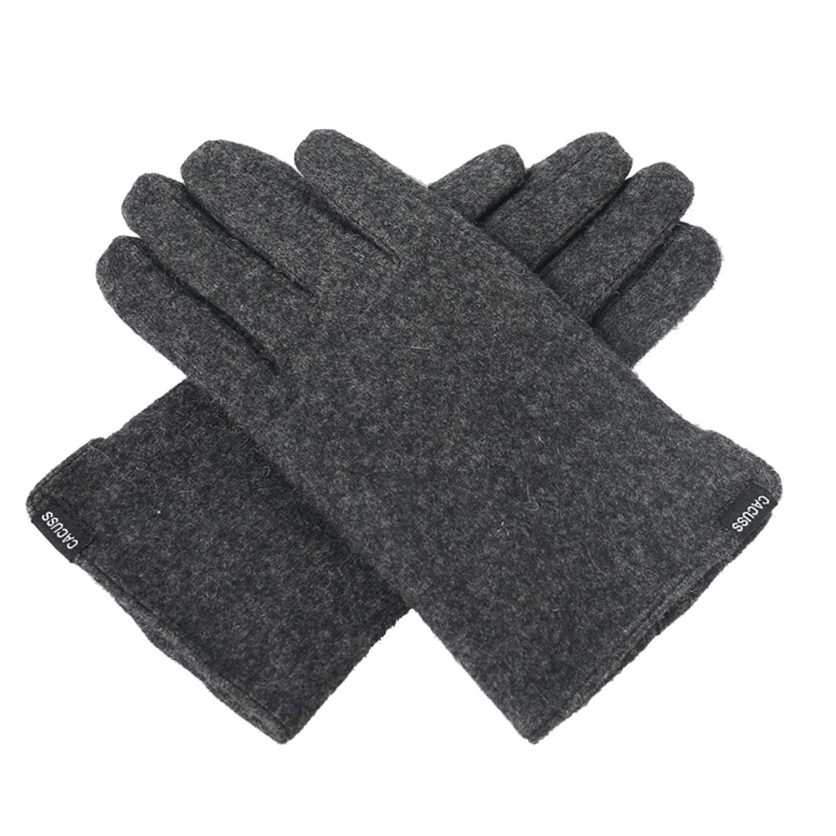 CACUSS Gloves Women Autumn and Winter Knit Gloves for Women Warm Touch Screen Gloves Wear-resistant Cycling Travel Windproof Finger Gloves Ladies (Dark gray)