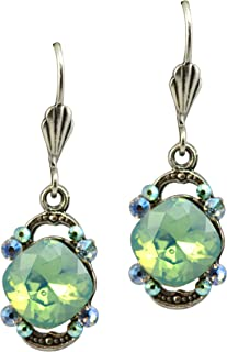 product image for Anne Koplik Silver Plated Dangle Earrings with Faceted Stone With Bookends