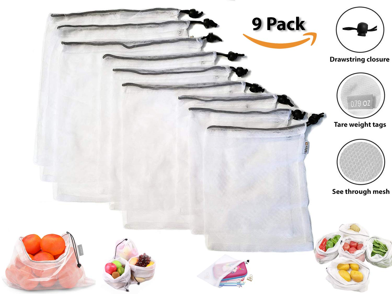 Superior Reusable Produce Bags | Ultra Light, Super Strong w/Double Stitched Seams | See-Through and Machine Washable Mesh | For Fruits, Vegetable, Grocery, Food, Toys, Storage | 9 Pack Max K