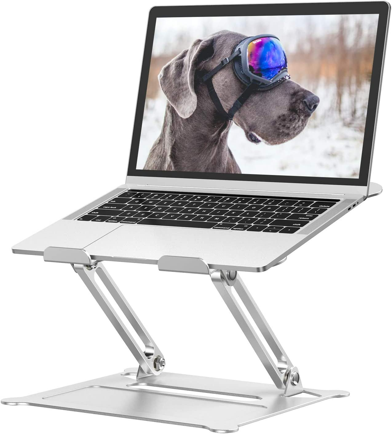 "Adjustable Laptop Stand, Ergonomic Portable Aluminum Stand,Multi-Angle Stand with Heat-Vent Laptop Compatible with 10""-15.6"" Inch MacBook, Dell, HP, Lenovo More Tablet,Projector Classic Silver"