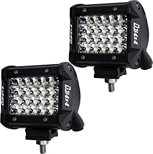 LED Pods, DJI 4X4 2Pcs 4 Inch 144W LED Light Bar Quad Row OSRAM Spot Beam LED Cubes Work Light Off Road Driving Fog Lamps for Trucks ATV UTV SUV Boat Marine, 2 Years Warranty