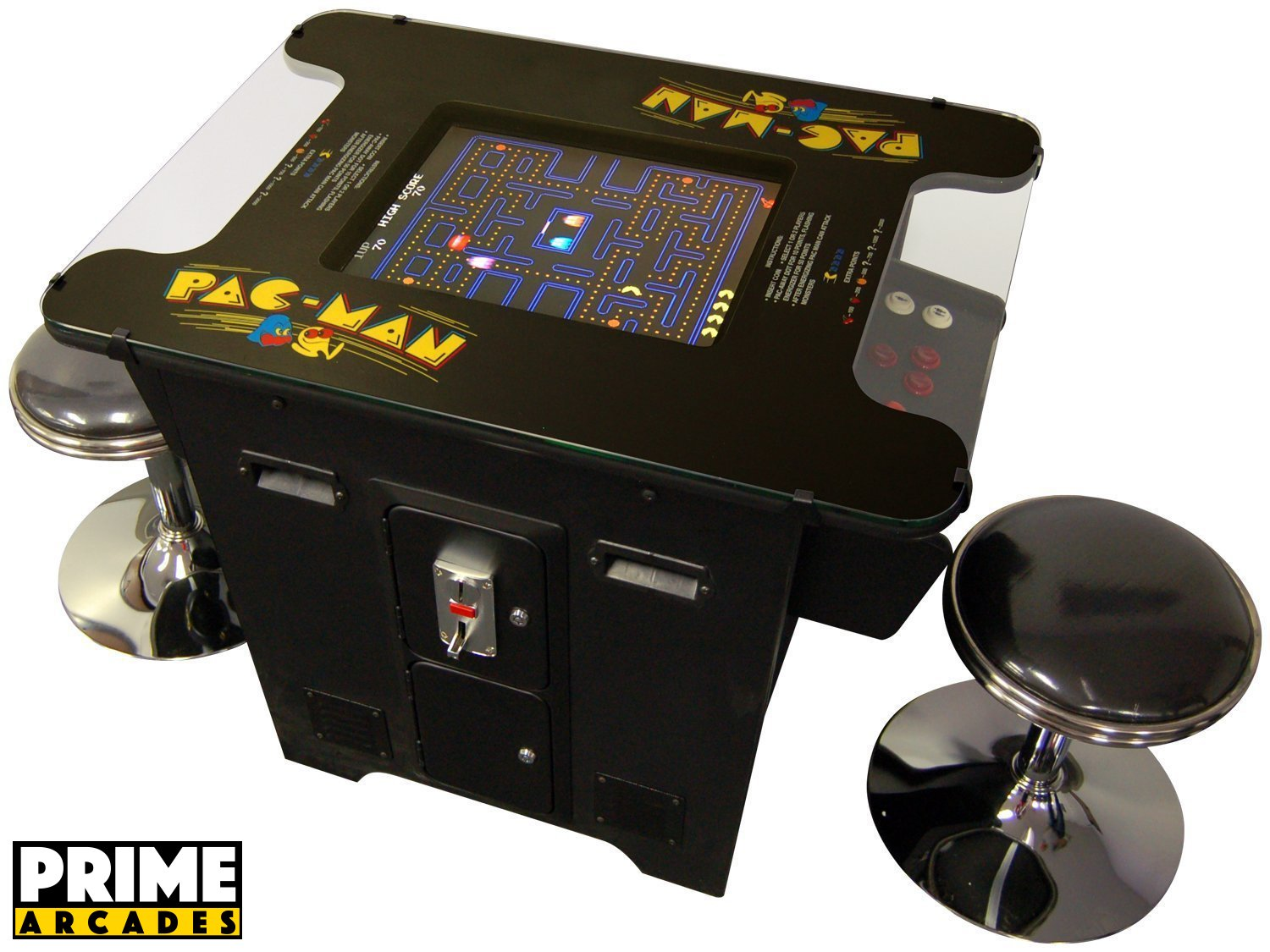 Cocktail Arcade Machine 60 Games in 1 Commerical Grade with Set of 2 Chrome Stools 5 Year Warranty