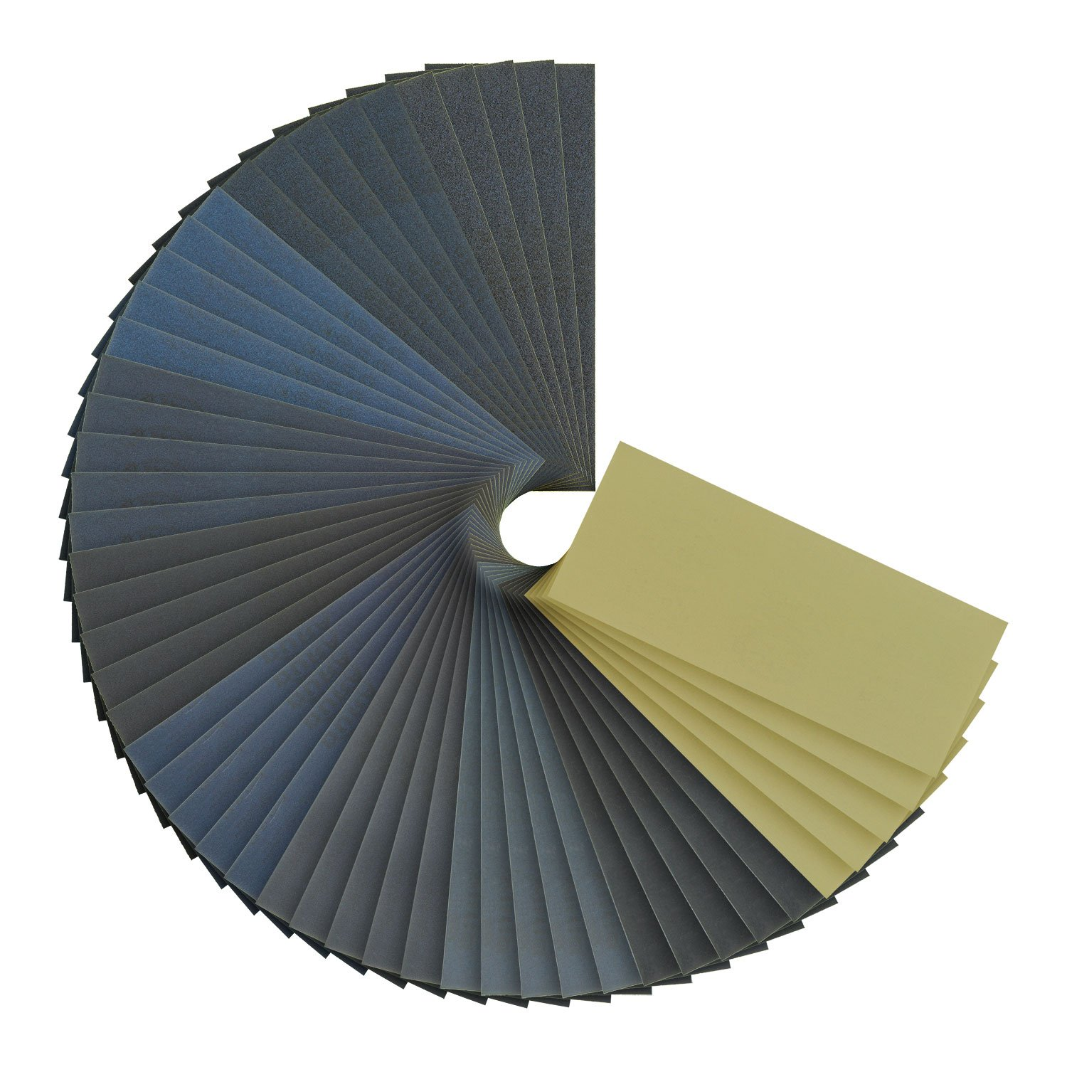 Dura-Gold - Premium - Wet or Dry - Variety Pack - 3-2/3'' x 9'' Sheets - 5-each of (150, 220, 320, 400, 600, 800, 1000, 1500, 2000, 3000) Automotive Woodworking - Box of 50 Sandpaper Finishing Sheets