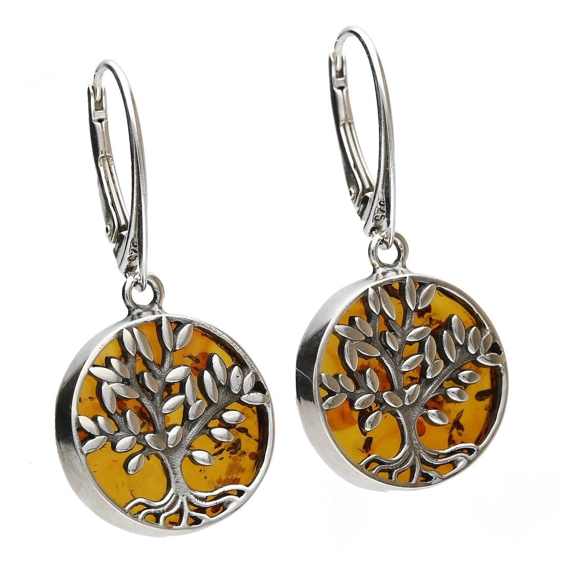 COGNAC BALTIC AMBER STERLING SILVER 925 DANGLE EARRINGS, KAB-274.5
