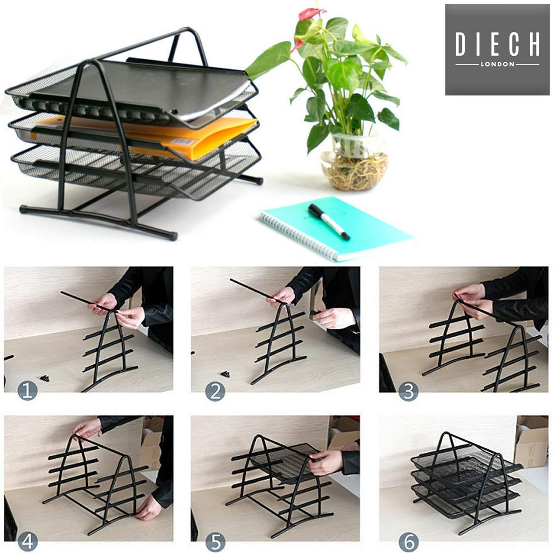 DIECH Office Depot Executive Ablagefach aus Netzpapier mit 3 Ebenen, Schwarz 3 Stück B07NQKYPSF | Neuheit