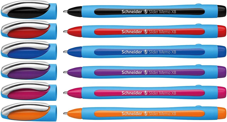 Schneider Slider Memo XB Ballpoint Pen, Asstd. Colors, Pack of 6 (150296)