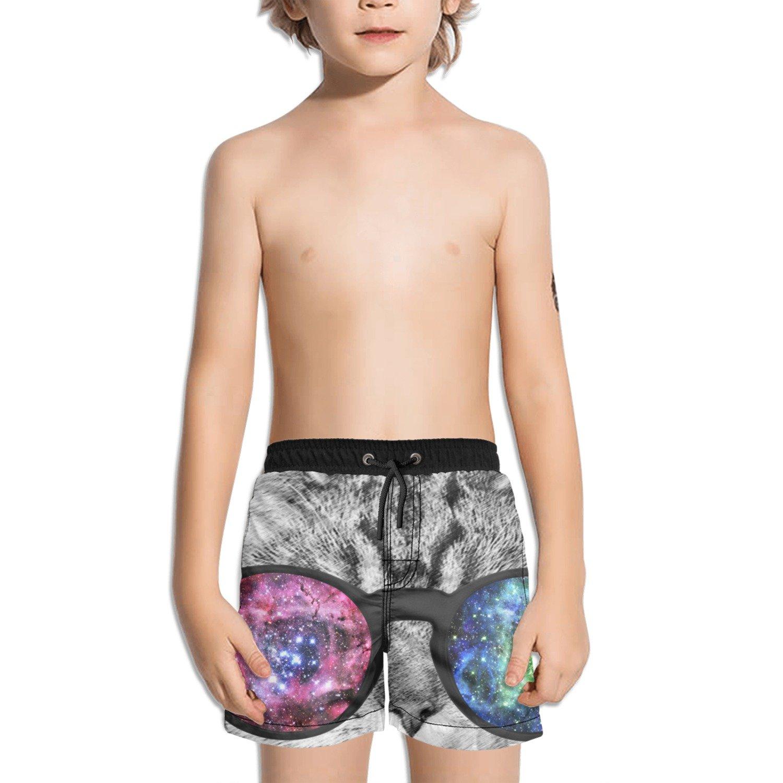 Trum Namii Boy's Quick Dry Swim Trunks Cool Cat with Sunglasses Shorts
