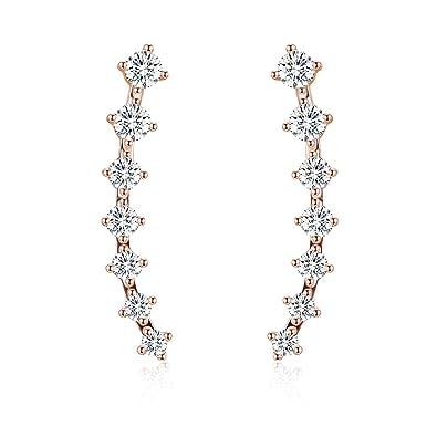 EAR VINES CZ Crystal Ear Cuffs Wrap Pin Ear Climbers Hook Earrings iLvitN2wPn