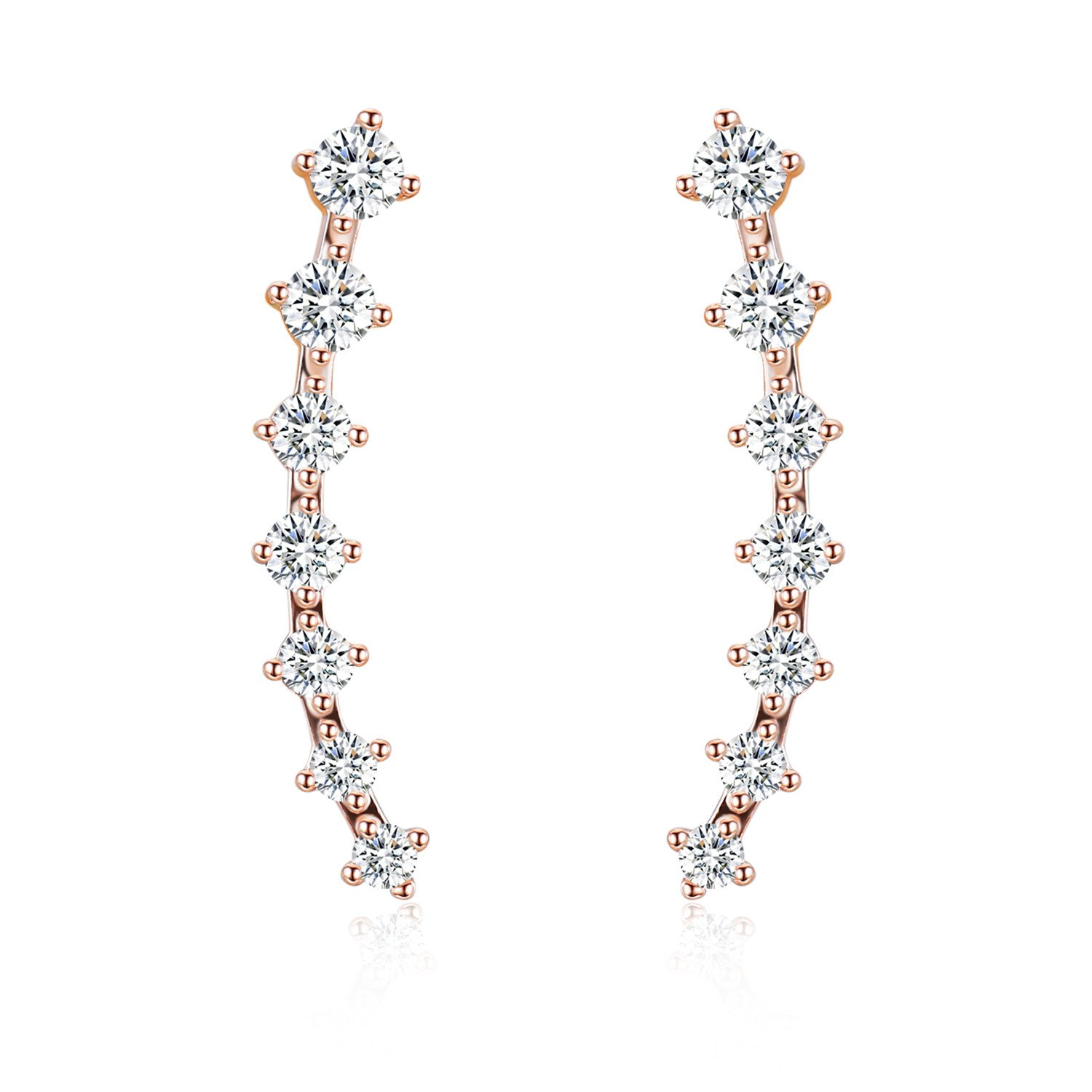 EVER SHINE Ear Cuffs Vines Climbers Wrap Pierced Pins Hook Earrings CZ Crystal 7 Stones (Rose Gold Tone with White Cubic Zirconia)