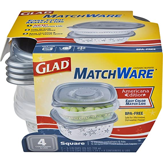 Glad Food Storage Containers - Glad MatchWare Square Containers - Two 25 Ounce - Two 42 Ounce