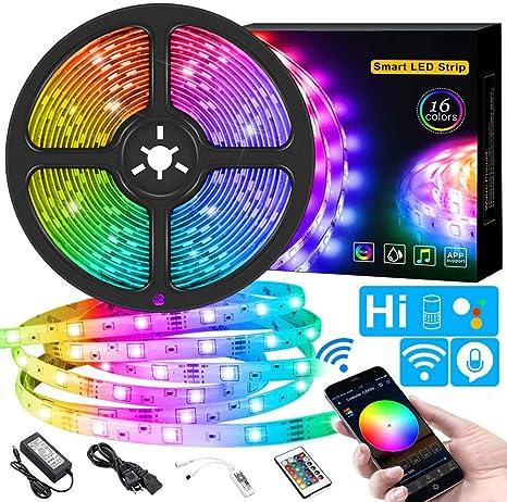 DOOK Alexa Tira LED RGB WiFi,Tira LED Regulable Control de Voz y App, Google Home Tira LED Sincroniza con la Música, 16 Colores Leds con Control Remoto, Decorativas para Fiesta, TV,16.4ft: Amazon.es: