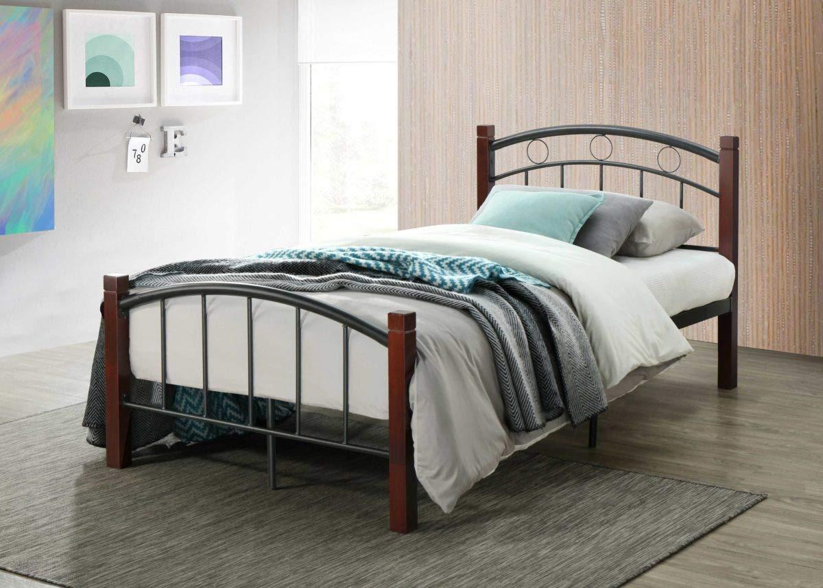 Hodedah HI599 Complete Metal Twin Bed, Mahogany by Hodedah