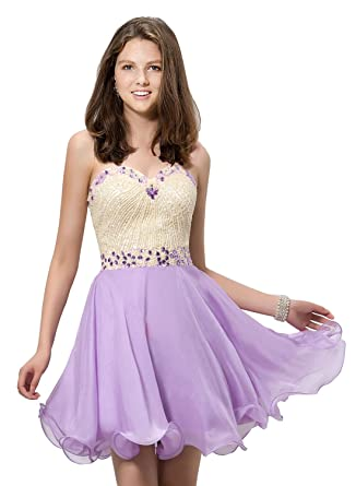 7400a6ad50 Wishopping Women s Short Rhinestone Prom Gown Homecoming Dress WH128  Lavender Size 2