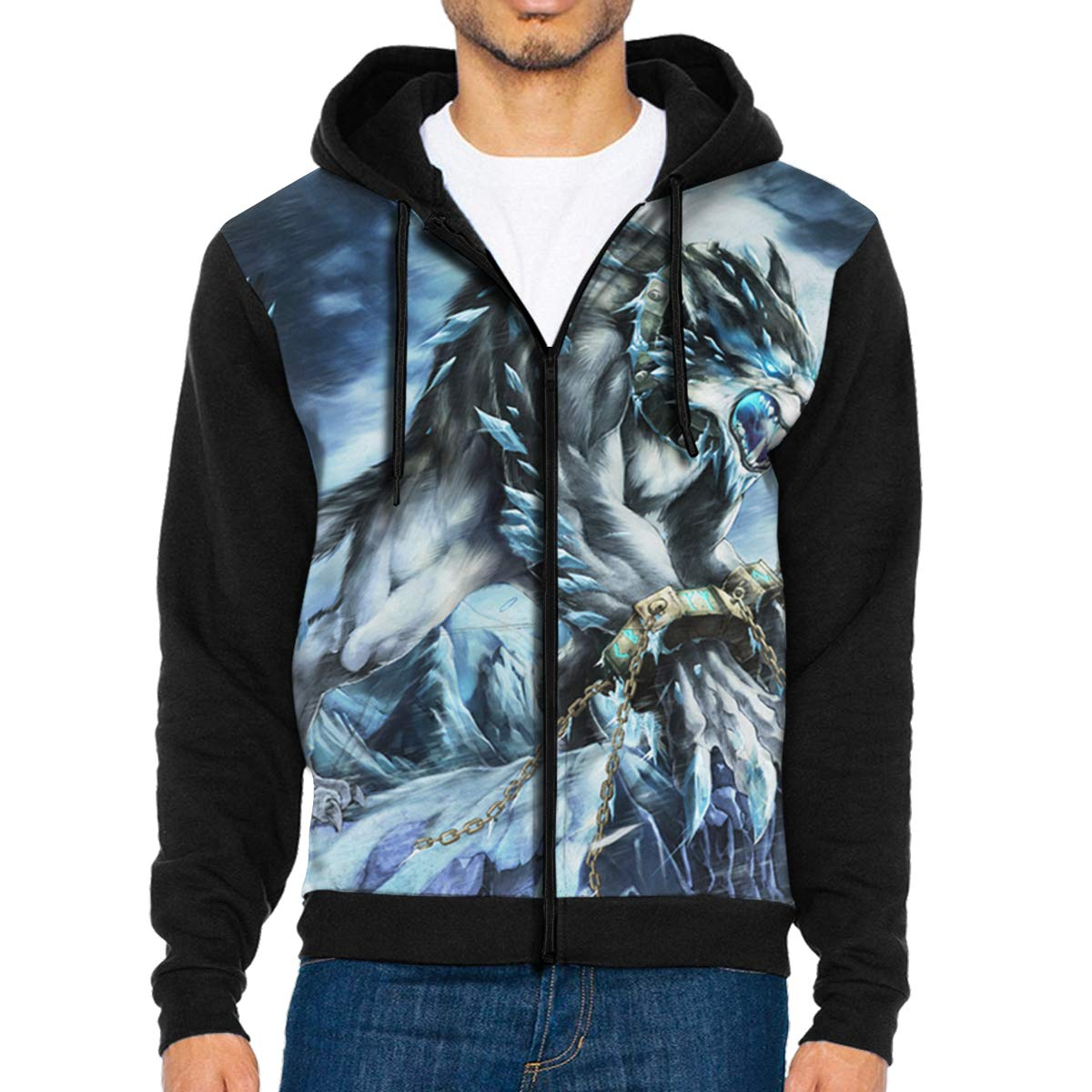 Men Pullover Hood Set Me Free The Angry Wolf Zip Hoodies Hooded Popular Jackets Coats