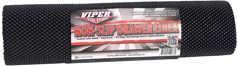 Viper Tool Storage VLINERBL Drawer Liner Black 18-Inch x 12-Feet