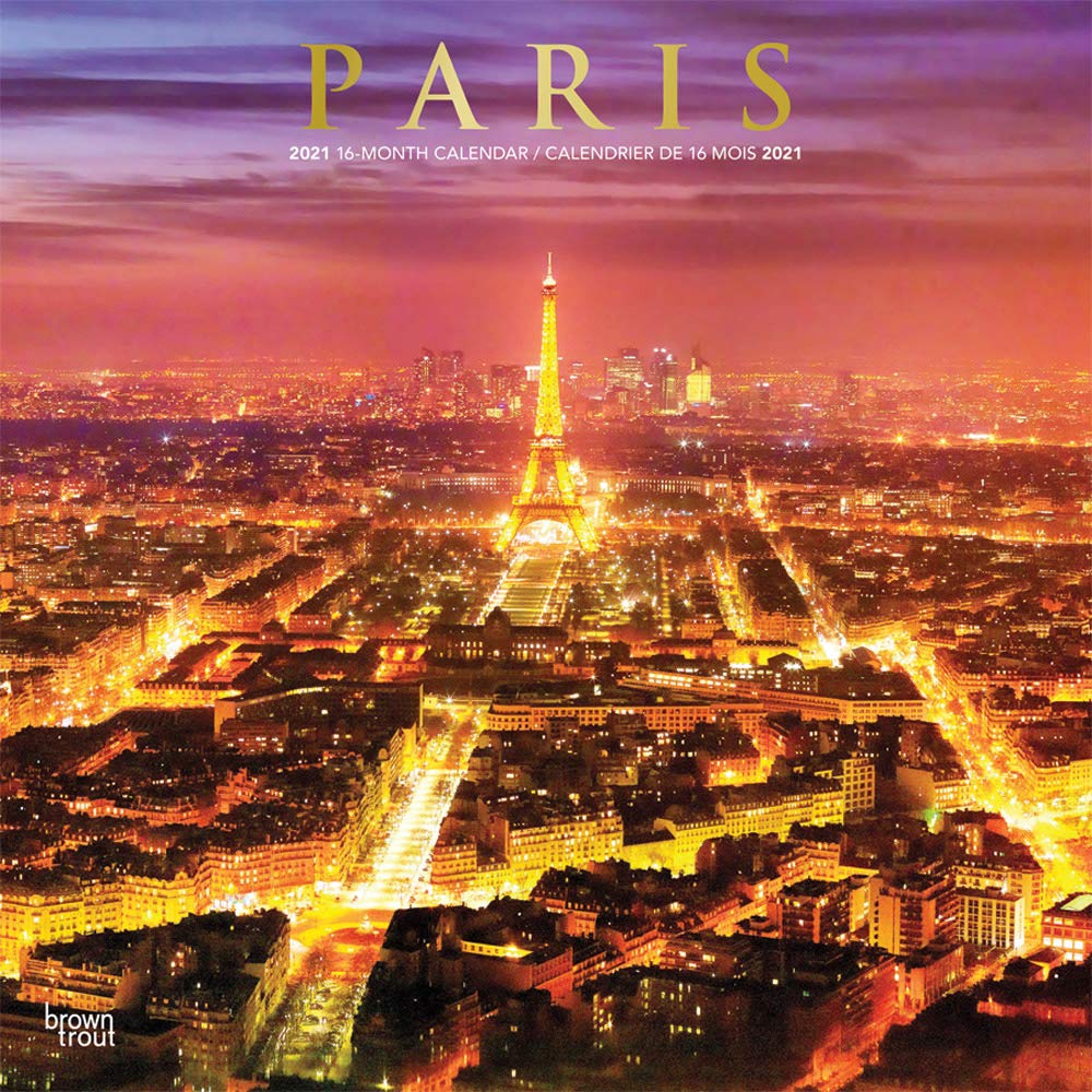 Paris Calendar 2021 Paris 2021 12 x 12 Inch Monthly Square Wall Calendar with Foil