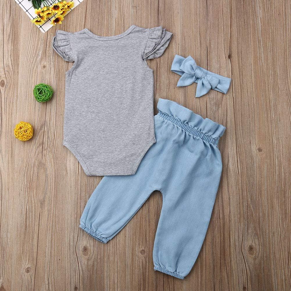 Baby Girls Summer Clothes Letter Print Short Sleeves Romper Tops Leopard Flare Pants Sets Denim Bell Bottom Jeans