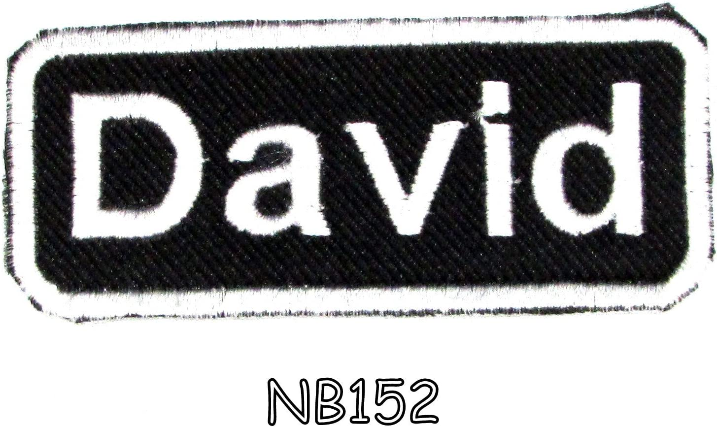 DAVE  NEW EMBROIDERED  SEW IRON ON NAME PATCH BLUE ON WHITE