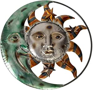Metal Wall Art Celestial Moon Sun and Stars Indoor Outdoor Garden Wall Hanging Decor 20 inches