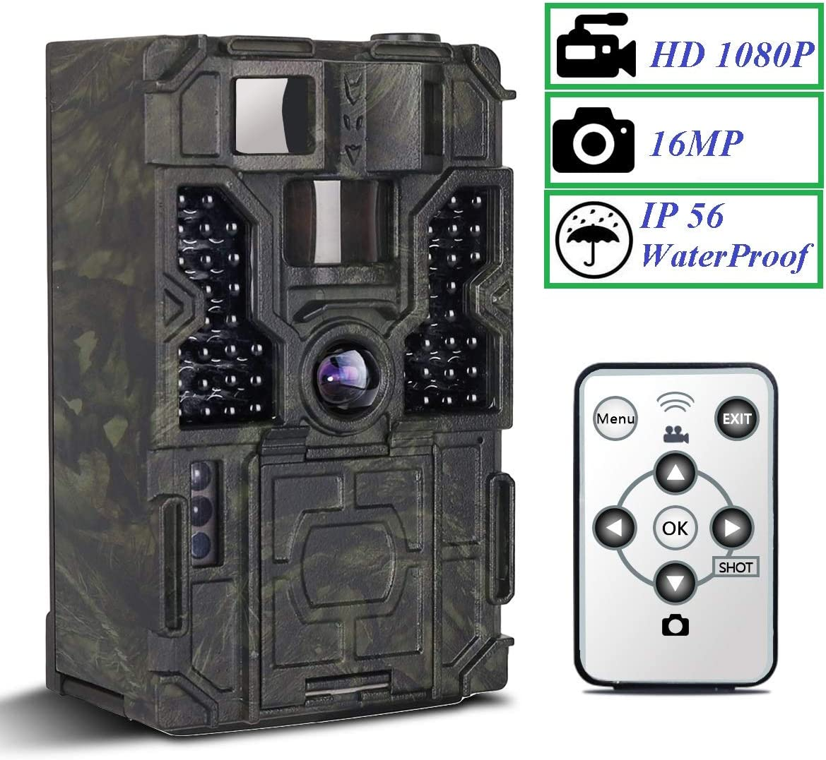 Trail Camera – PetElf 1080P 16MP Hunting Trail Game Camera Wildlife Monitoring Cam 48pcs IR LEDs Night Vision Motion Activated, 2.4 LCD Display 3 PIR Sensors 0.2s Trigger Speed 130 Detection