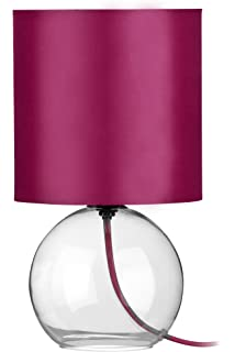 Premier housewares round glass table lamp teal amazon lighting premier housewares glass table lamp hot pink aloadofball Image collections