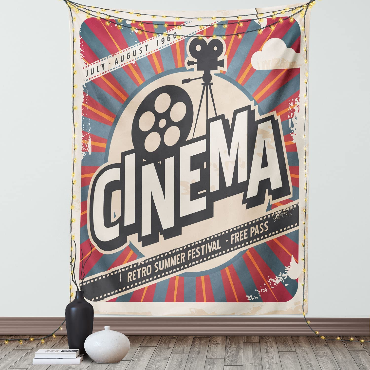 Ambesonne Vintage Tapestry, Retro Cinema Movie Vintage Paper Texture Hollywood Stars Theme Image Print, Wall Hanging for Bedroom Living Room Dorm Decor, 40