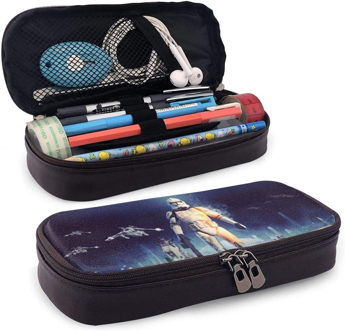 Star Wars - Estuche de piel para lápices de gran capacidad, para mujeres y hombres, niñas y oficina escolar, color negro: Amazon.es: Oficina y papelería