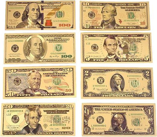 Rosepoem 1 2 5 10 20 50 100 Dólar 24K oro plateado dólares Realista Colección de monedas: Amazon.es: Hogar