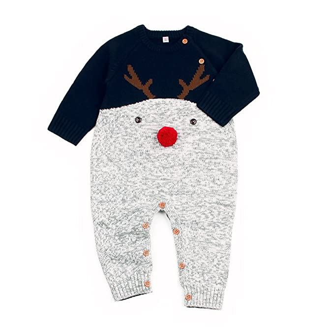 3dd710c27 Amazon.com  Ziyunlong Baby Boys Girls Cute Christmas Knit Romper 3D ...