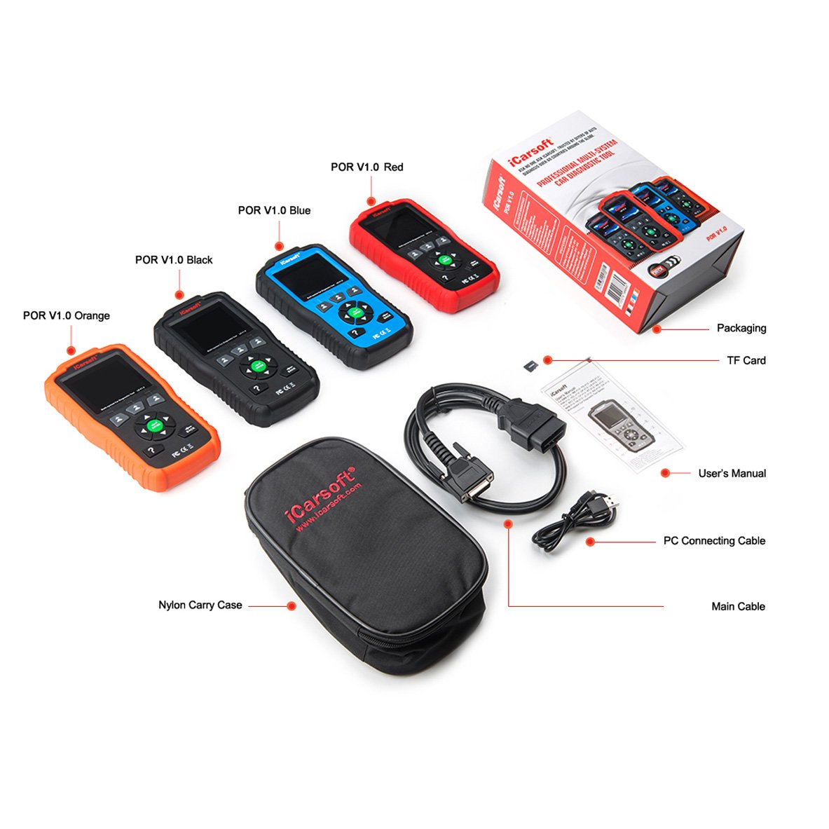 iCarsoft Auto Diagnostic Scanner POR V1.0 for Porsche with Airbag Scan,Oil Service Reset ect by iCarsoft (Image #1)
