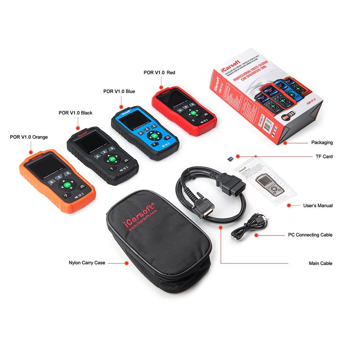 iCarsoft Auto Diagnostic Scanner POR V1.0 for Porsche with Airbag Scan,Oil Service Reset ect