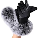 Women's Winter Gloves,Jushye Christmas Women leather Gloves Autumn Winter Warm Faux rabbit fur gloves Mittens
