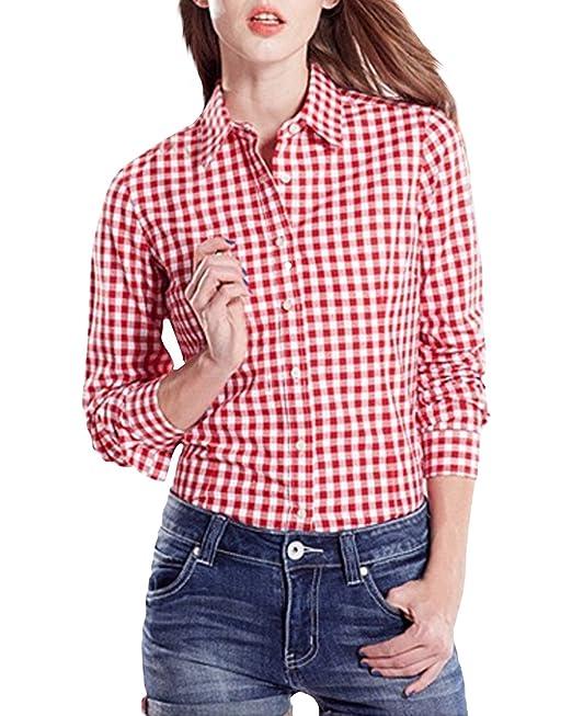StyleDome Blusa Camisa Casual Elegante Oficina Algodón a Cuadros Cuello Clásico Mangas Largas Mujer Rojo EU