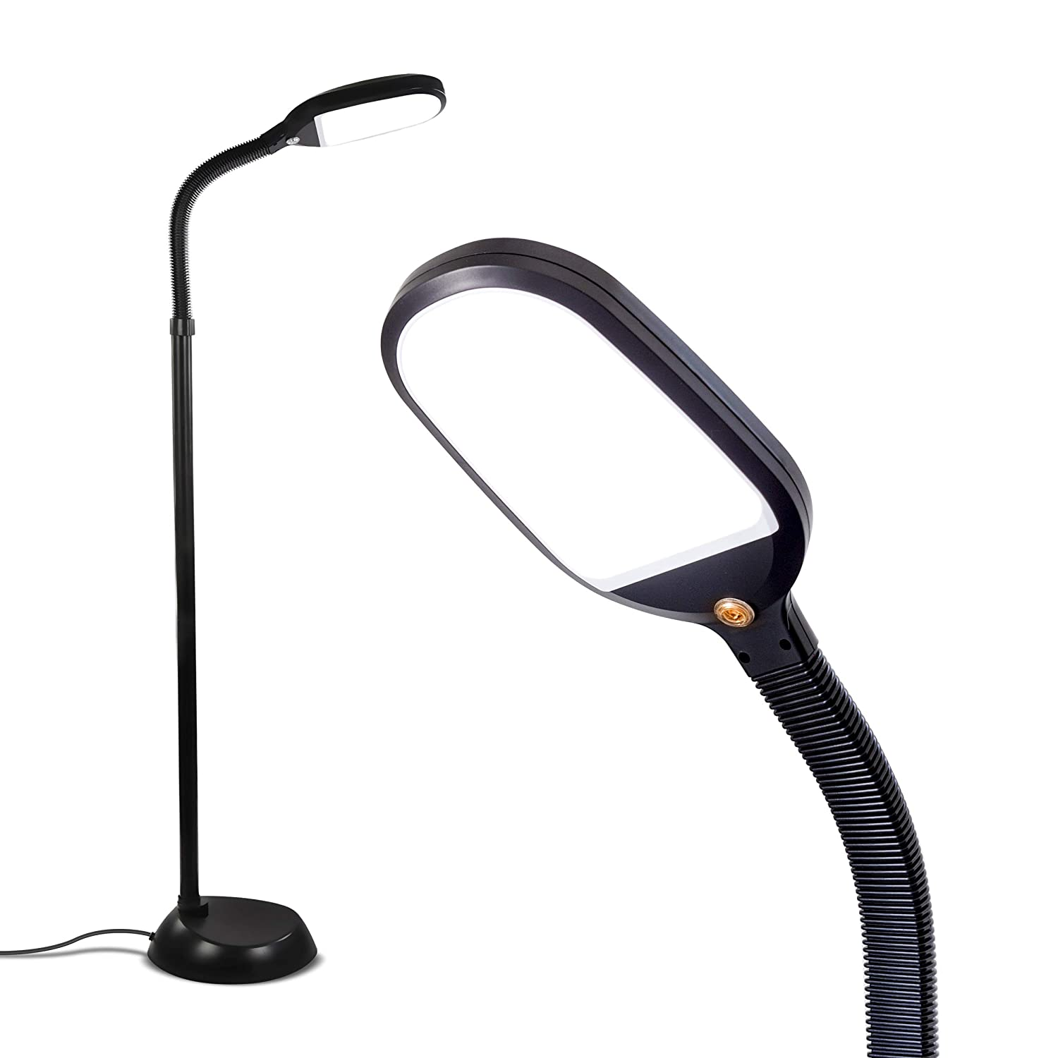 Brightech Litespan LED Bright Reading and Craft Floor Lamp - Modern Standing Pole Light - Dimmable, Adjustable Gooseneck Task Lighting Great in Sewing Rooms, Bedrooms - Black