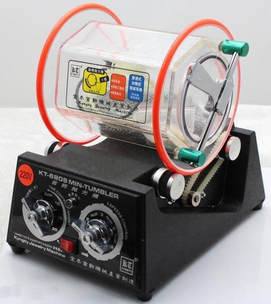 ELEOPTION Professional Magnetic Tumbler Rotar Tumbler Jewelry Polisher Finisher Machine Professional Mini Tumbler with Free Polishing Bead Ship by DHL (110V 80W) (KT-6808, 80W, Large)