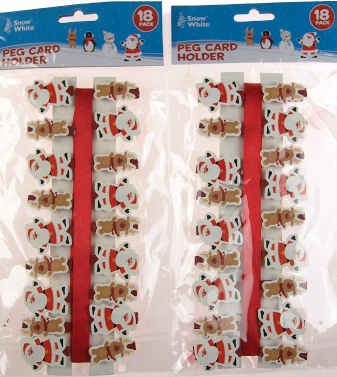 BWG Set Of 2 Christmas Cars Holders - Pegs And Ribbon Holds 36 Cards - Reindeer Santa