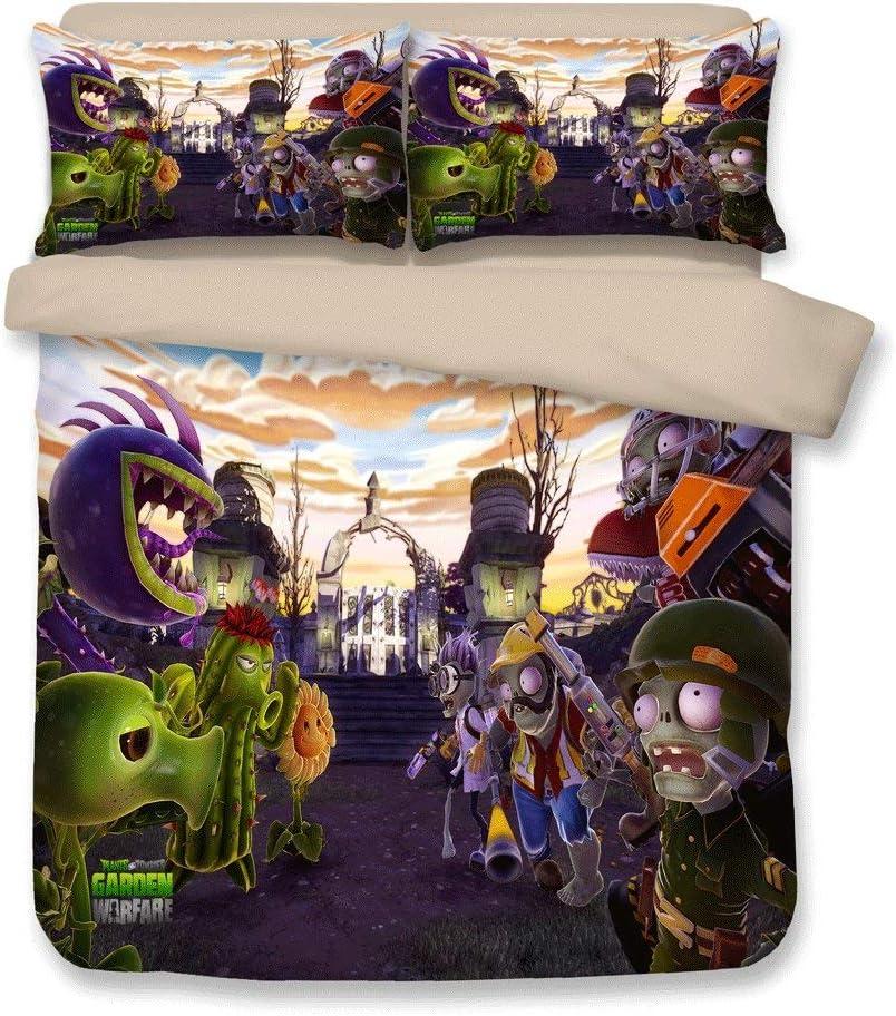 FJMM Plants vs. Zombies Bedding Sets PVZ 3PC Duvet Cover Set 3D Print Soft,Full